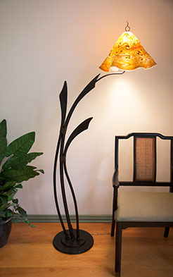 F1-0445 Floor Lamp with Glass Shade by Jeff Benson