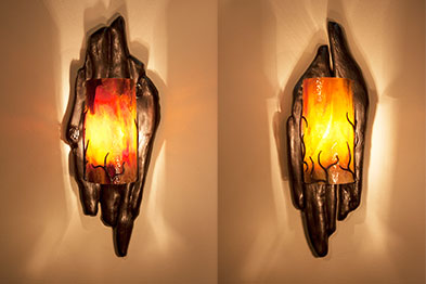 F1-0453 Metal Driftwood Sconces by Jeff Benson