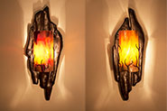 F1-0453 Forged Metal Driftwood Light Sconce