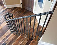 R1-0450 Hammer Textured Railing with Forged Ball on Newel
